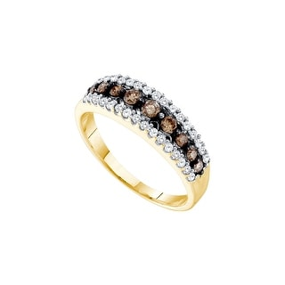 10k Yellow Gold Womens Cognac-brown Colored Diamond Fashion Band Ring 1/2 Cttw - Brown/White