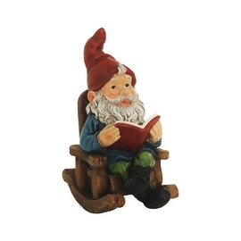 "9.25"" Rocking Chair Forest Gnome with Book Outdoor Patio Garden Statue"