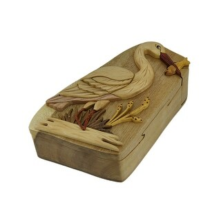 Fresh Catch Standing Crane Hand Crafted Wooden Trinket/Puzzle Box - 2.5 X 7 X 4 inches
