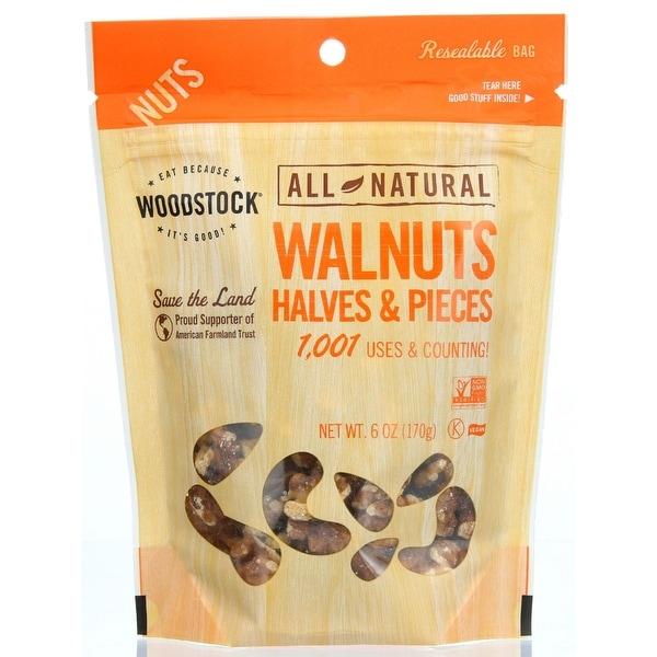 Woodstock Walnuts - Halves & Pieces - Raw - Case of 8 - 6 oz.