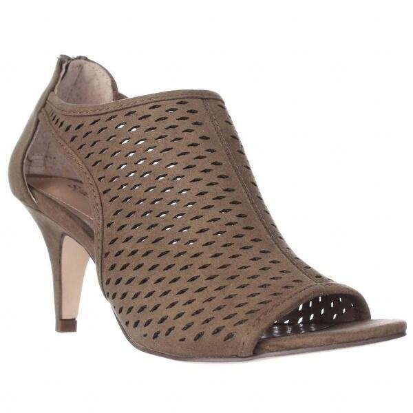 SC35 Haddiee Perforated Caged Peep Toe Heels, Sage