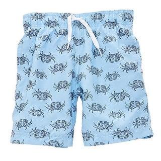 Azul Baby Boys Light Blue Crab Walk Drawstring Tie Lined Swim Shorts