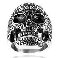 Men's Stainless Steel Day of the Dead Antiqued Finish Ring - Sizes 9-13 - Thumbnail 2