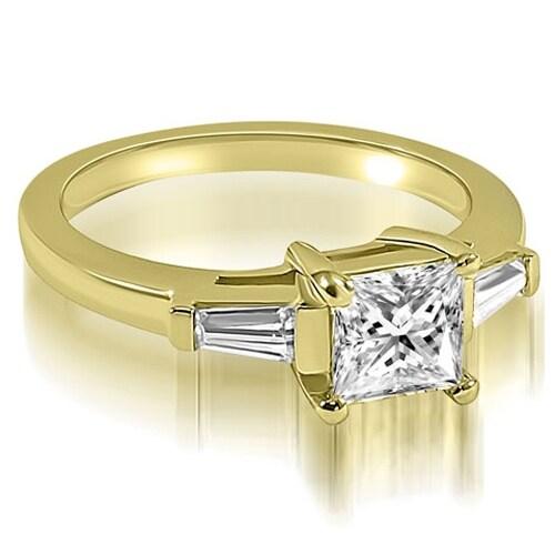 1.00 cttw. 14K Yellow Gold Princess Baguette Three Stone Diamond Engagement Ring