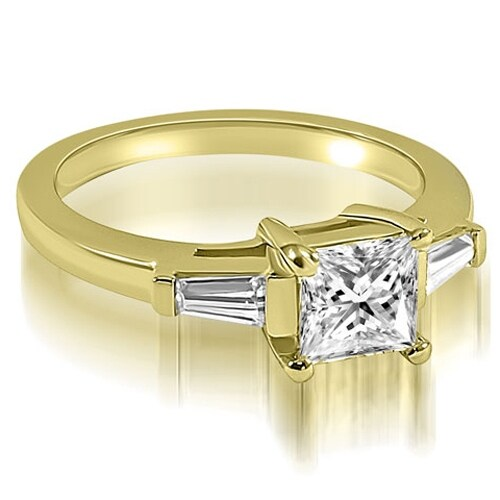 1.25 cttw. 14K Yellow Gold Princess Baguette Three Stone Diamond Engagement Ring