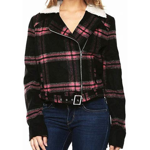 Guess Women's Jacket Black Size Small S Fleece Plaid Belted Sherpa
