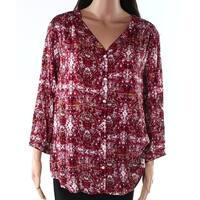 Sandra Ingrish Purple White Womens Size Large L Button Down Blouse 337