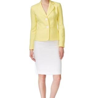 Le Suit NEW Yellow White Contrast Women's Size 4 Skirt Suit Set