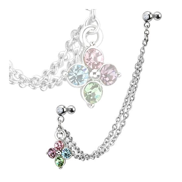 Steel Flower Multi Gemmed Dangle w/Double Cartilage/Tragus Barbell Double Chain Linked (Sold Ind.)