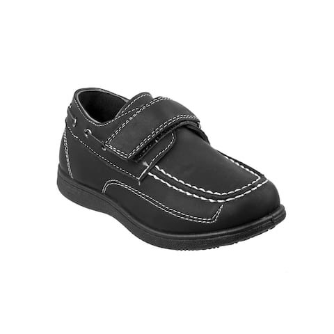 Josmo Boys Black Stitching Detail Hook-And-Loop Strap Boat Shoes