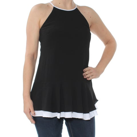 VINCE CAMUTO Womens Black Colorblocked Pep Sleeveless Halter Top Size: 2XS