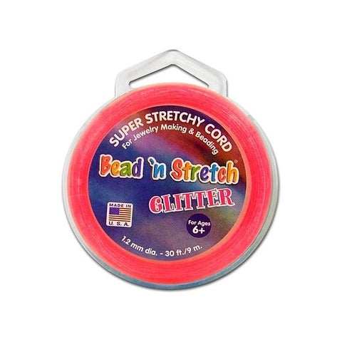 Toner Bead N Stretch Cord 1.2mm Glitter Pink 30ft
