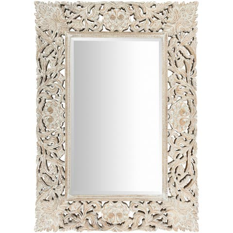 "Brinley White Washed Hand Carved Bohemian Wall Mirror - 30"" x 42"""