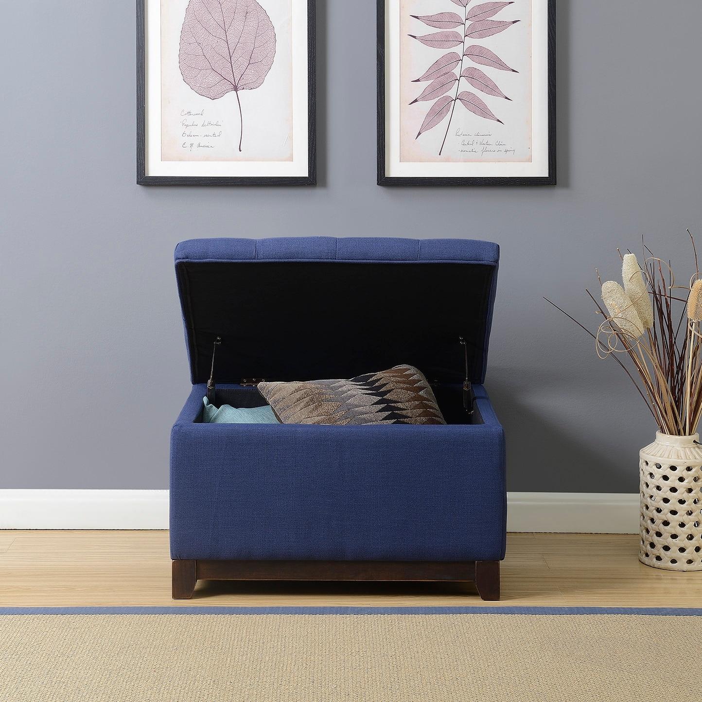 Belleze Linen Ottoman Storage Bench Stool Large Footrest Seat Tufted Foot Navy Blue