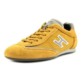 Hogan Olympia Uomo Slash H Flock Men Round Toe Suede Gold Sneakers