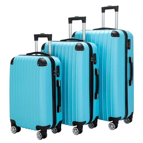 """3 Piece Luggage Sets PC+ABS Spinner Suitcase 20"""" 24"""" 28"""""""