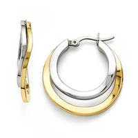 Chisel Stainless Steel Polished Yellow IP-plated 30mm Hoop Earrings