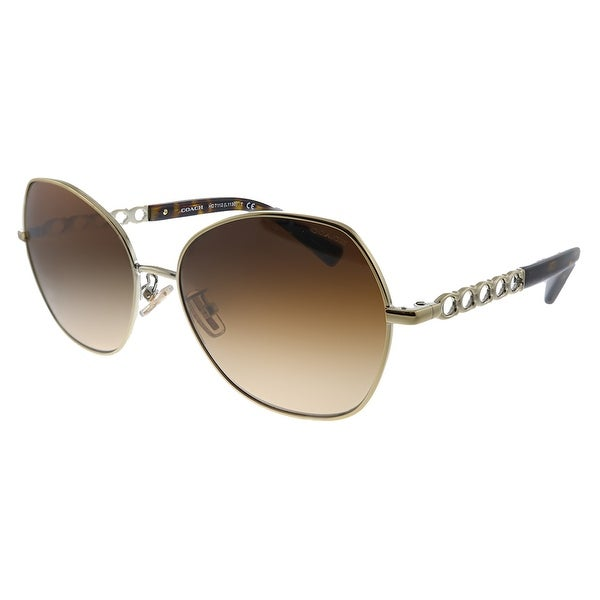 Coach L1130 HC 7112 900574 Womens Light Gold Frame Brown Gradient Lens Sunglasses. Opens flyout.