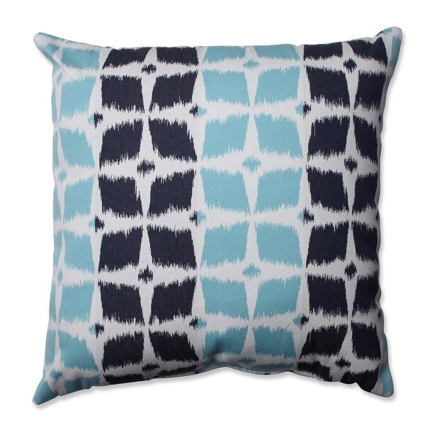 "18"" Retro Aqua Ikat Decorative Indoor Throw Pillow"