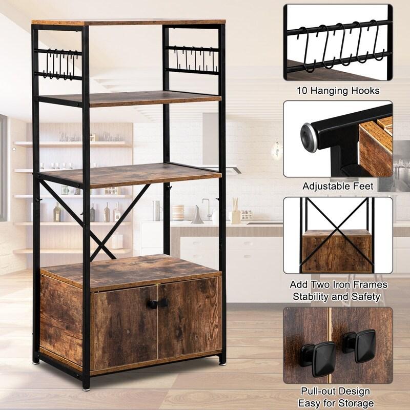 Industrial Metal Frame Solid Particle Board 5 Compartment Shelves for Livingroom Restaurant Commercial TOPINCN Kitchen Bakers Rack Storage Cabinet Bedroom