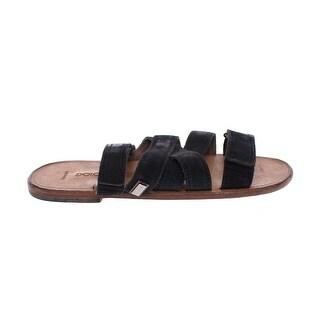 Dolce & Gabbana Black Leather Strap Slides Sandals Shoes - eu39-5us8-5