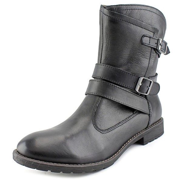 Montana Rylan Women Round Toe Leather Black Ankle Boot