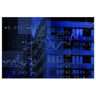 """""""USA, New York, New York City, stock quotes reflecting on window"""" Poster Print"""