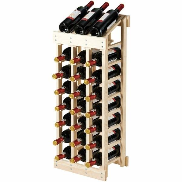 Gymax 24 Bottle Wood Wine Rack 3 Column 8 Row Storage Display Shelf Free Standing - as pic