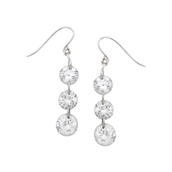 Drop Earrings with 6 ct Cubic Zirconia in 14K White Gold