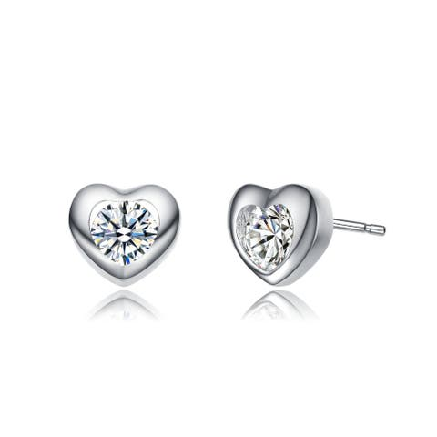 Alberto Moore Rhodium Plated Clear Round Cubic Zirconia Heart Stud Earrings
