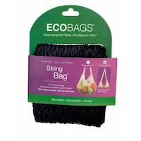 ECO-BAGS PRODUCTS String Bag Long Handle Natural Cotton Black