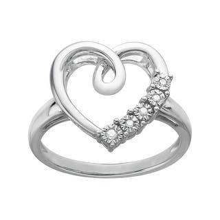 Heart Ring with Diamonds in 14K White Gold-Plated Sterling Silver|https://ak1.ostkcdn.com/images/products/is/images/direct/c7bc8a31dbf99ffdca04a22dbe62f71ce7460795/Heart-Ring-with-Diamonds-in-14K-White-Gold-Plated-Sterling-Silver.jpg?impolicy=medium