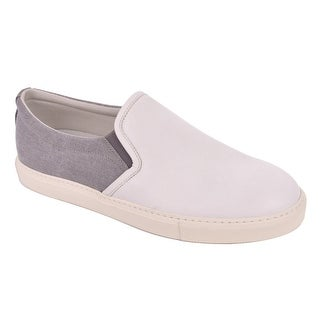Brunello Cucinelli Light Grey Leather Canvas Slip On Sneakers