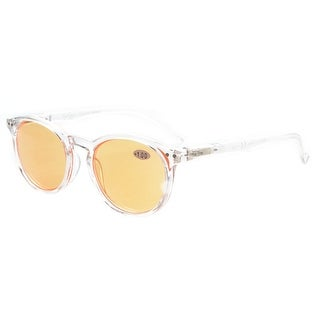 Eyekepper Round Computer Readers Spring-Hinges Reading Glasses Clear Orange Tinted Lenses+2.75