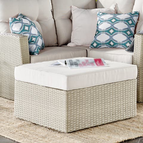 Lawayon Outdoor Wicker Cushioned Square Ottoman by Havenside Home