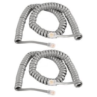 Unique Bargains 2 Pcs Gray RJ9 4P4C Connector Stretchy Coiled Telephone Phone Cable 3 Meters