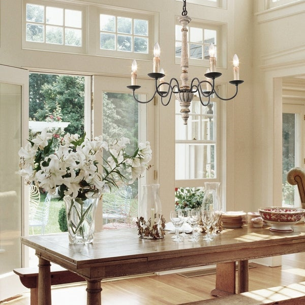 The Gray Barn Ingleside 5/6-lights French Country Wooden Candle Chandelier. Opens flyout.