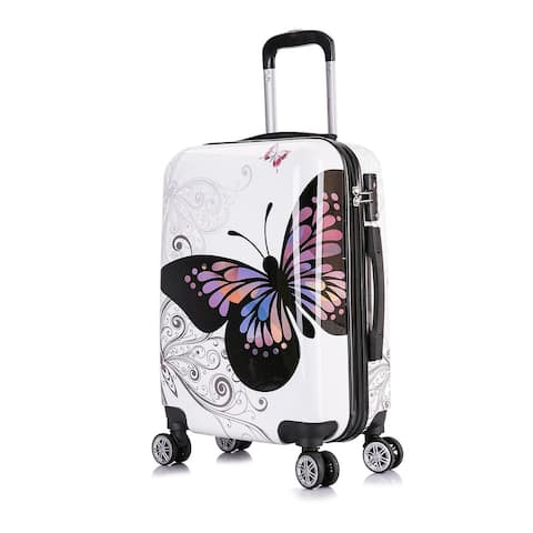 InUSA PRINTS lightweight hardside spinner 20 inch carry-on Butterfly