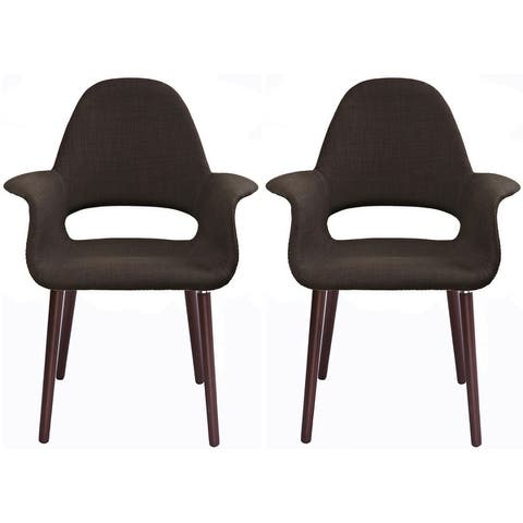 2xhome Set of 2 Fabric Upholstered Accent Chair with Arms Dark Walnut Wood Leg Dining High Back Office Home Living Room Desk