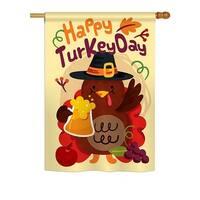 Happy Turkey Day Fall - Seasonal Impressions Decorative Vertical