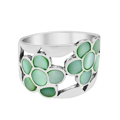 Handmade Colorful Blossoms Green Dyed Seashell Inlay Sterling Silver Ring (Thailand)