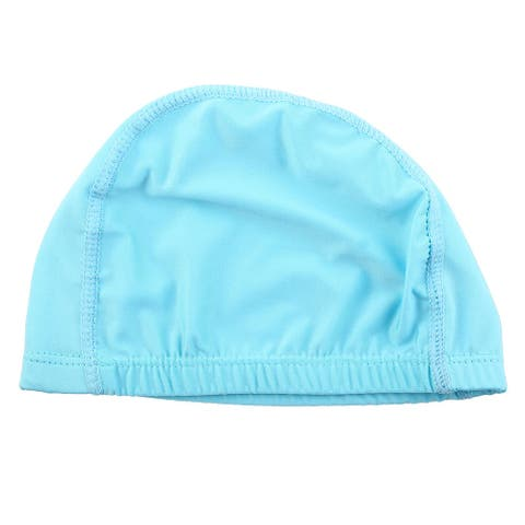 Unisex Dome Shaped Water Resistant Stretchable Swimming Cap Bathing Hat Sky Blue