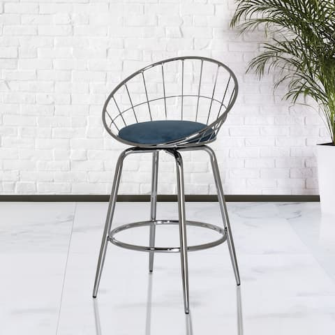 Porch & Den Neskowin Metal Padded Disc Counter Stool - N/A