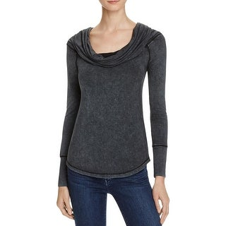 Free People Womens Casual Top Cowl Neck Long Sleeve