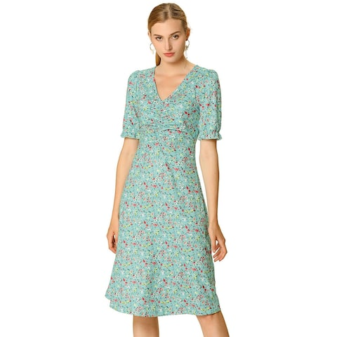 Women's Floral Ruffle Sleeves V Neck Ruched Midi Dress