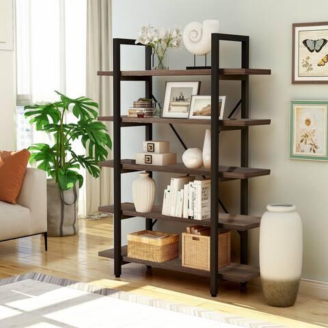 5-Tier Industrial Wood Metal Bookcase Open Bookshelf