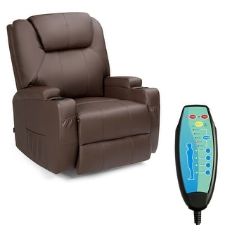 Gymax 8 Point Massage Recliner Chair Heated Swivel Brown
