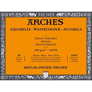 "Arches Watercolor Rough Paper Block 140# 20 Sheets-9""X12"" 20 Pages"