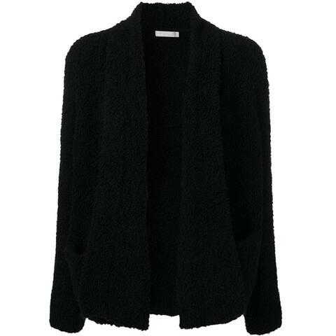 Vince Womens Black Fleece Knit Cardigan Size XS