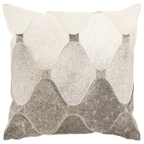 "Mina Victory Sofia Grey Silver Throw Pillow , ( 18"" x 18"" )"